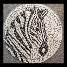 Fantastic Tiled Top Motif Fantastic Tiled Top Motif Use Field Tiles To Make A Zebra Mosaic Table 7 Steps With Pictures # Mosaic Crafts, Mosaic Projects, Mosaic Art, Mosaic Glass, Mosaic Tiles, Glass Art, Wall Tiles, Art Projects, Leftover Tile