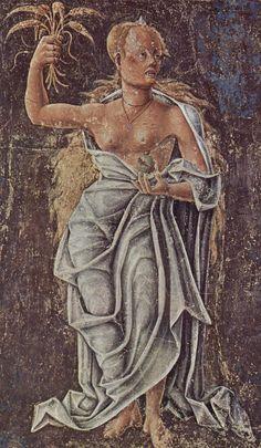 Deméter o Demetra,alegoría de Agosto: fresco de Cosimo Tura, Palazzo Schifanoia, Ferrara. Diosa griega de la agricultura, nutricia pura de la tierra verde y joven, ciclo vivificador de la vida y la muerte, y protectora del matrimonio y la ley sagrada. Era adorada mucho antes de la llegada de los olímpicos.  Ceres en la mitología romana . Hija de los titanes Crono y Rea (ambos hijos de Gea y Urano), y por tanto hermana mayor de Zeus. A sus sacerdotisas se les daba el título de Melisas.