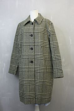 SEXY Houndstooth Plaid Black and White Overcoat with Red Lining Womens 12 / USA #JonathanMichael #BasicCoat