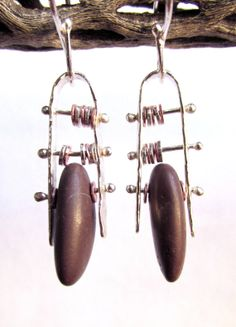 Earrings  Sterling Silver and Copper  Modernist by rmddesigns, $38.00