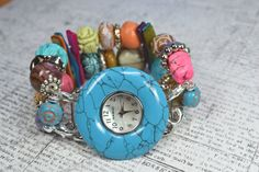 Interchangeable Rainbow Beaded Watch Face and Band $28.00 - FUN! This shop has some really cute watches!