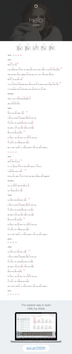Adele - Hello guitar chords and tab by Ultimate Guitar. http://goo.gl/C0f2Wr