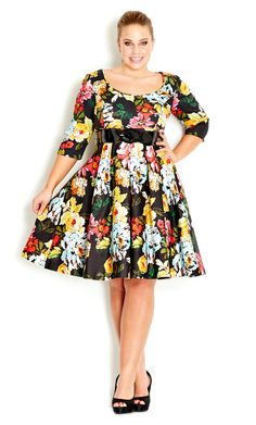 I like the darker background of this floral dress. The sleeve and skirt length are my favorite.-TMC~~ Plus Size Wild Floral Dress by City Chic Big And Tall Outfits, Plus Size Outfits, Curvy Girl Fashion, Plus Size Fashion, Plus Size Dresses Australia, City Chic Online, Plus Size Kleidung, Modelos Plus Size, Moda Plus Size
