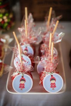 Cute treats at a Little Red Riding Hood Party!   See more party ideas at CatchMyParty.com!  #partyideas  #woodland