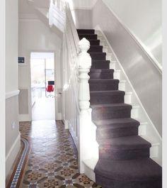 hallway, high skirtings, bit of wall, dado then wallpaper above Edwardian Haus, Tiled Hallway, Grey Hallway, Hallway Carpet, Stair Carpet, Dado Rail Hallway, Hallway Paint, Front Hallway, Victorian Hallway