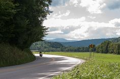 Motorcycle riding on  route 100 in Vermont