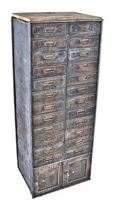 """refinished early 20th century antique american industrial """"fire-proof"""" pressed and folded cold-rolled steel freestanding cook county hospital multi-drawer cabinet with original brass pulls"""