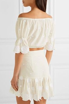 Miguelina - Colette Off-the-shoulder Cropped Embroidered Cotton-voile Top - Cream - large