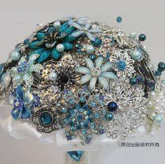 EMS free shipping Handmade luxury blue crystal rhinestone Bridal Bouquet wedding bride brooch bouquet US $268.00