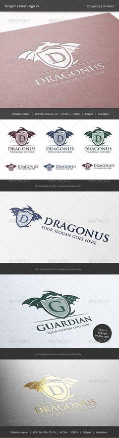 Dragon Letter V2 Logo (Crests)