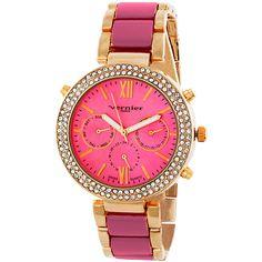 Vernier Paris Women's Swiss Movement Crystal Bezel  Enamel Center... ($60) ❤ liked on Polyvore featuring jewelry, watches, vernier watches, enamel watches, crystal jewellery, crystal stone jewelry and bezel jewelry