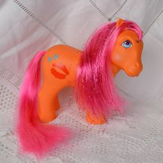 Vintage My Little Pony  'Candy Kisses' Orange Pink Tinsel - G1 - 1984 - Rare UK Exclusive - MLP by TeaJay, Vintage  Toy  Animal  My Little Pony  Snowflake  Pink  Bright  White  Glittery  1984  Hasbro  Custom  MLP  CHINA Tinsel  UK Exclusive