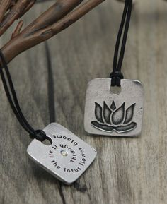 "Inspirational Lotus Pendant Necklace with leather cord. ""Through it all the lotus flower blooms"""