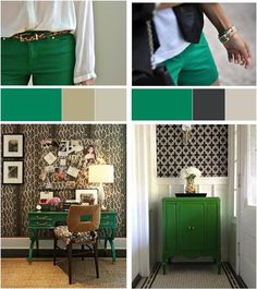 """I consider these palettes to be warm and """"contrasting"""" in color: Emerald + Tan & Emerald + Black...! Below are cool """"monochromatic"""" palettes: Emerald + Gray & Emerald + Aqua...!"""