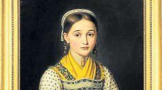 """""""Bildnis eines Mädchens"""" mit dem üblichen Schmuck: Miedergeschnür, Kropfkette, Ohrringe und Riegelhaube."""