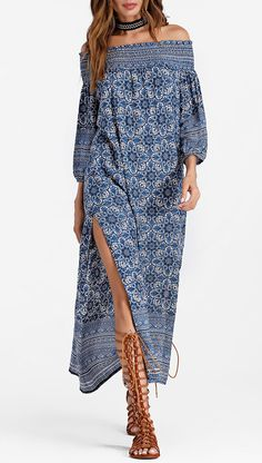 Up to 80% OFF! Printed Smocked Off Shoulder Maxi Dress. #Zaful #Dress Zaful,zaful dress,zaful outfits,black dress,dress,dresses,fashion,fall fashion,fall outfits,winter outfits,winter fashion,dress,long dress,maxi dress,long sleeve dress,flounced dress,vintage dress,casual dress,lace dress,boho dress, flower dresses,maxi dresses,evening dresses,floral dresses,long dresses,party dresses,gift,Christmas,ugly Christmas, New Year 2017, New Year Eve. @zaful Extra 10% OFF Code:ZF2017