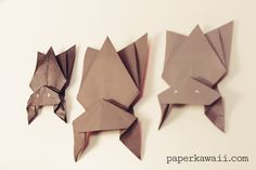 Learn how to fold cute hanging Halloween bat! You'll need 1 piece of black or dark paper for this straight forward origami bat model :)