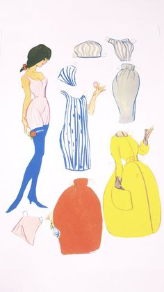 Dansk påklædningsdukker. Tegnet af Christel