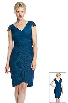 Adrianna Papell Beaded Sleeve Ruched Cocktail Dress