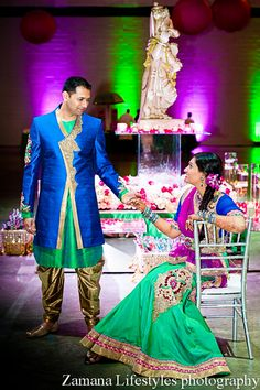 Purple, Blue and Green Sangeet in South Carolina on IndianWeddingSite.com
