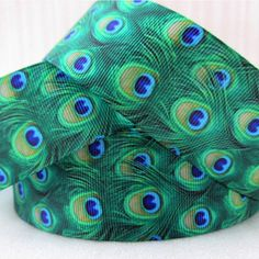 Ribbon By The Yard Grosgrain 1.5 Inch Green Blue Peacock
