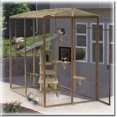 Outdoor Cat Enclosures | ... outdoor spaces for your cat where to find cat fences runs cat fence in