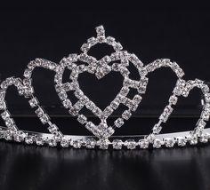 Shiny Rhinestone Heart Shape Girl Wedding Prom Tiara Crown Headband