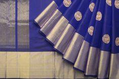 beautiful blue kanchi saree with rudraksha deer motif from parisera.com