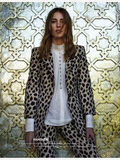Nadja Bender in Giorgio Armani by Jean Baptiste Mondino for Elle France March 2015. Stylist: Friquette Thevenet