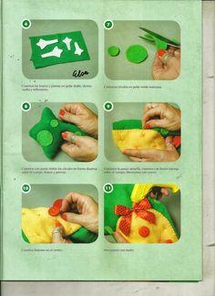 Muñecos y juguetes paso a paso - Revistas de manualidades Gratis Felt Puppets, Hand Puppets, Puppet Crafts, Kindergarten Activities, Handmade Toys, Plastic Cutting Board, Sewing, Doll, Comics