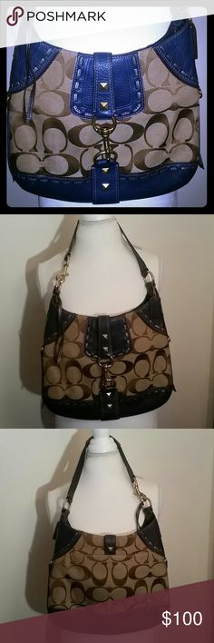 Authentic coach bag Like new coach bag.. inside is clean no stains. Tan with blue leather Coach Bags Shoulder Bags