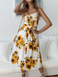 442d2e45b41b Sheinstreet Spring and Summer Sunflower Floral Spaghetti-neck Midi Dress