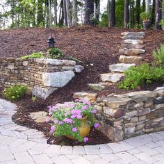 Landscape Hillside Steps Design, Pictures, for the backyard! Landscaping Retaining Walls, Backyard Landscaping, Luxury Garden, Landscape, Hillside Landscaping, Backyard, Garden Stairs, Landscaping A Slope, Landscaping On A Hill
