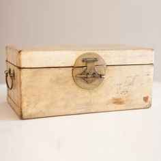 Antique Chinese Wooden Box, Wrapped in Leather