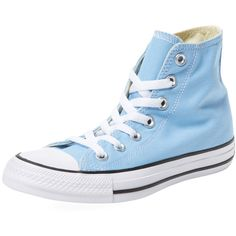 Converse Women's Chuck Taylor All Star Hi-Top - Blue - Size 3.5m/5.5w ($39) ❤ liked on Polyvore featuring shoes, sneakers, blue, converse high tops, high top sneakers, platform shoes, lace up shoes and blue sneakers