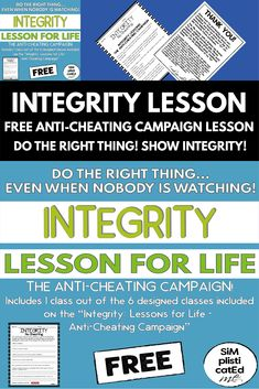 Integrity: Lesson For Life - Free No Cheating Lesson Elementary Teacher, Elementary Schools, School Resources, Classroom Resources, Classroom Management, Behavior Management, Life Lessons, Life Skills, Integrity