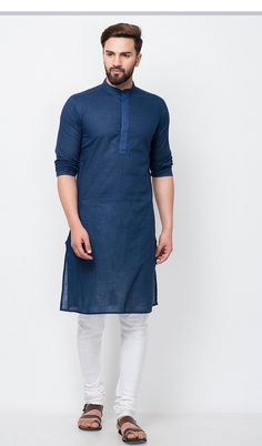 Shop navy blue cotton slub placket embroidered fitted long kurta , freeshipping all over the world , Item code mwcks2