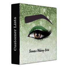 Green glam lashes eyes | makeup artist 3 ring binder - glitter glamour brilliance sparkle design idea diy elegant