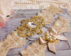 Gold Wedding Garter Set Gold Bridal Garter Set by GarterQueen