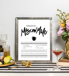 Moscow Mule Cocktail Recipe Art Print | Accompany your happy hour ritual with this cocktail recipe art... | Posters