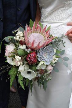 'King Proteas' for Debbie & Liam King's November Wedding Day at Ashfield House November Wedding, Blush Pink Weddings, Event Planning, Floral Design, Floral Wreath, Wedding Day, King, Flowers, House