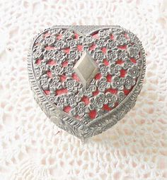 Heart Shape Antique Silver Lined Jewelry Box  by RosebudsOriginals, $14.95