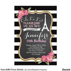 Paris Eiffel Tower Birthday Party Invitation Paris Bridal Shower, Tea Party Bridal Shower, Bridal Showers, Baby Showers, 50th Birthday Party Invitations, Bridal Shower Invitations, Modern Invitations, 50th Party, Party Favors