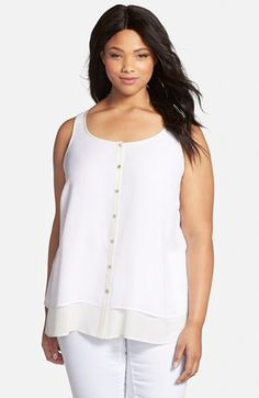 Eileen Fisher Tiered Silk Button Front Shell (Plus Size) available at #Nordstrom