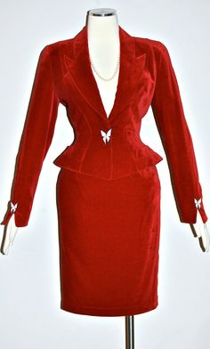 5a61ecd0e540 Vintage THIERRY MUGLER Suit Red Velvet Jeweled Butterfly Skirt Blazer Outfit
