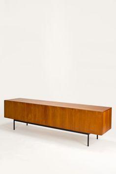 Teak and Enameled Metal Sideboard for Behr Möbel, 1958 Handmade Furniture, Vintage Furniture, Home Furniture, Furniture Design, Metal Sideboard, Tv Credenza, Mid Century Credenza, Bauhaus, Prop Design