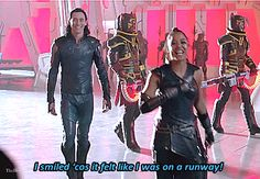 And though she be but little, she is fierce! — Tom and Tessa on set in Thor Ragnarok Featurette:. Marvel Films, Marvel Funny, Marvel Memes, Marvel Dc Comics, Marvel Characters, Marvel Avengers, Tom Hiddleston Funny Tumblr, Tom Hiddleston Loki, Tom Hiddleston Quotes