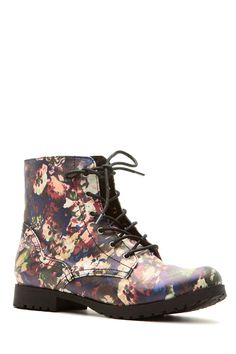 Floral Faux Leather Lace Up Combat Boots @ Cicihot Boots Catalog:women's winter boots,leather thigh high boots,black platform knee high boots,over the knee boots,Go Go boots,cowgirl boots,gladiator boots,womens dress boots,skirt boots.