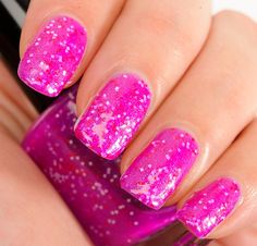 Bedazzle your valentine with these pretty pink nails.