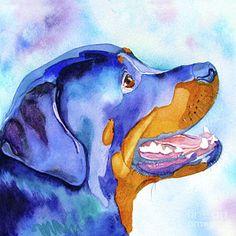 Rotty Rottweiler Blues Canvas Print / Canvas Art by Jo Lynch